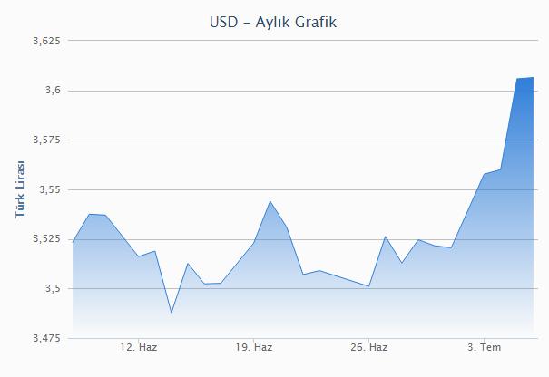Dolar aylık grafik